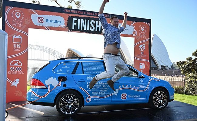 Dutchman ends worlds longest electric car trip in Australia