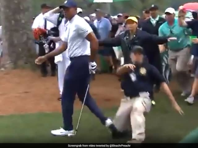 Tiger Woods Gets Slide Tackled By Security Guard At Masters, Twitter Goes Berserk. Watch