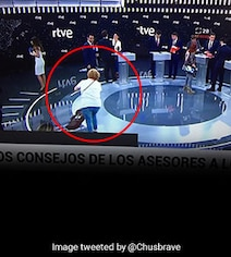 Viral Pic Of Women Cleaning TV Studio Before Election Debate Irks Twitter
