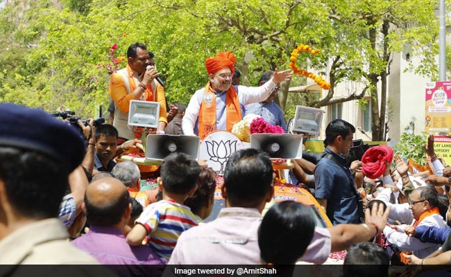 Amit Shah Takes Out Roadshow In Gandhinagar On BJP Foundation Day