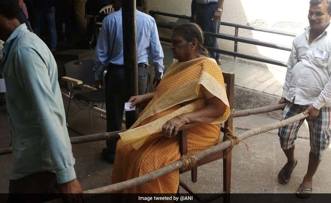 Mumbai Woman, On Chair, Carried Into Voting Booth By Family