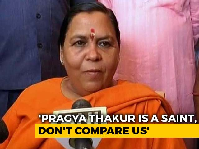 "Video : ""Pragya Thakur Is A Saint, Don't Compare Me With Her"": Uma Bharti"