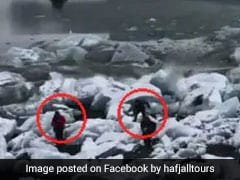 Shocking Video Shows Tourists Running To Safety As Glacier Collapses