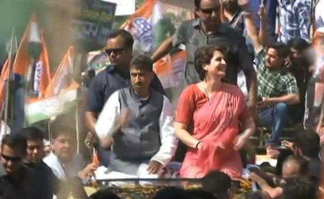 Priyanka Gandhi Vadra Holds Poll Campaign Road Show In UP's Bijnor