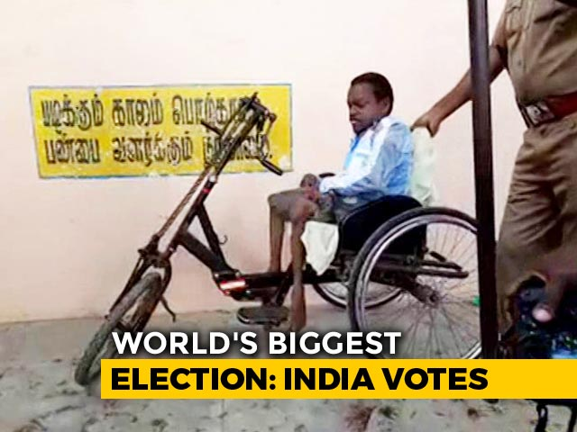 This Differently-Abled Man Reaching A Polling Booth To Vote Is Winning Hearts