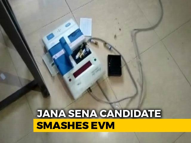 Video : Watch: Furious Andhra Candidate Smashes EVM At Polling Station, Arrested