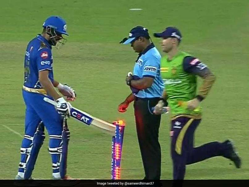 Watch: Angry With Umpire's Decision, Rohit Sharma Hits Stumps With Bat