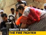 Video : Watch - How Union Minister Smriti Irani Helped Put Out A Fire In Amethi