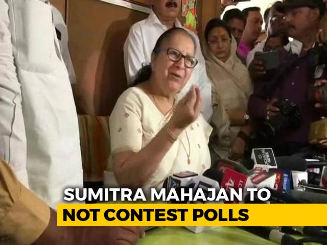 "Video : ""Won't Fight, Party Free To Pick"": BJP's Sumitra Mahajan Is Done Waiting"