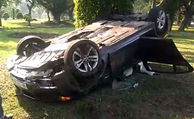 Woman Injured As Her BMW Flips Over At VIP Zone In Delhi