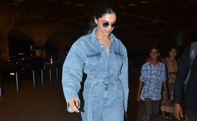 Ahead Of Met Gala 2019, Deepika Padukone Jets Off To New York In Basic-Chic Denim Jumpsuit. Wow