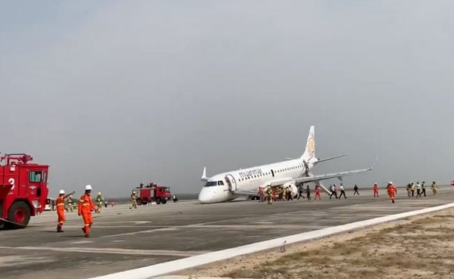 WATCH Myanmar Passenger Plane Make Safe Belly Landing Despite Nose Wheel Failure