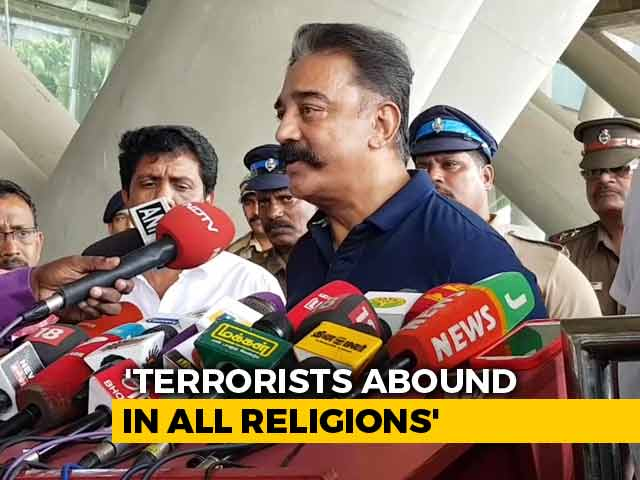 "Video : ""Terrorists Abound In All Religions"": Kamal Haasan Defends Godse Comment"