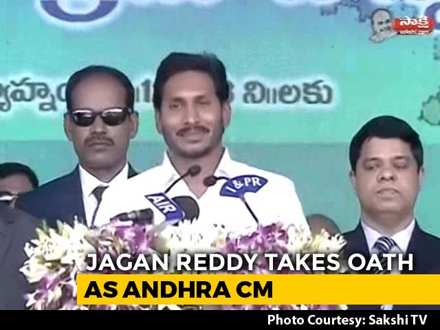 Video : Hundreds Cheer As Jagan Reddy Takes Oath As Andhra Pradesh Chief Minister