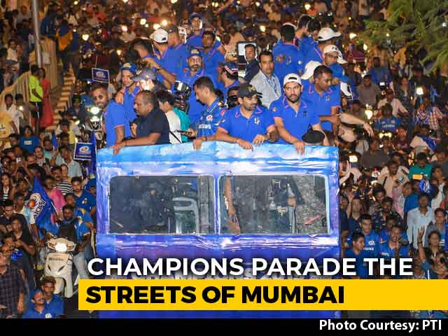 Video : Watch: Mumbai Indians Set Out For Champions Parade Amid Heavy Fanfare