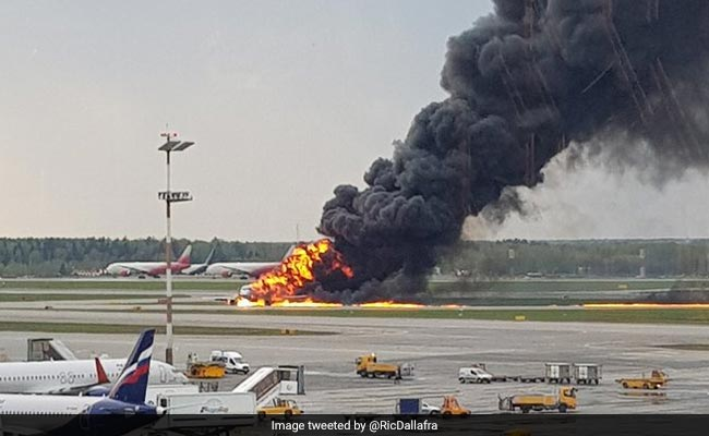 Sukhoi passenger jet catches fire, makes crash landing in Moscow