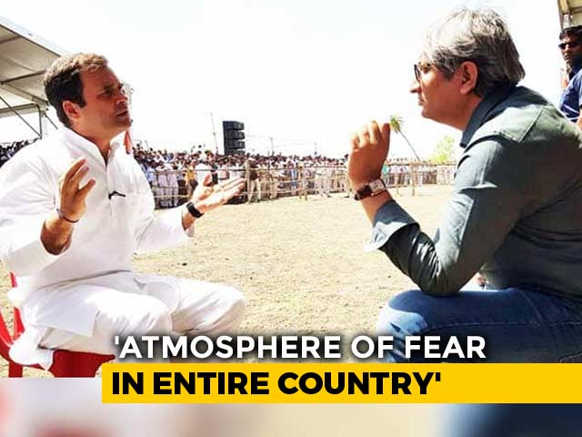 "Video : ""People Tell Me They're Scared Of RSS"": Rahul Gandhi To NDTV's Ravish Kumar"