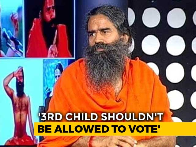 "Video : ""Third Child Shouldn't Be Allowed To Vote"": Ramdev On Population Control"