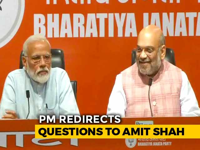 Video : PM Modi Sits In On Press Conference, Redirects Questions To Amit Shah