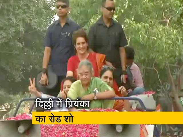 Video : शीला दीक्षित के लिए प्रियंका गांधी का रोड शो