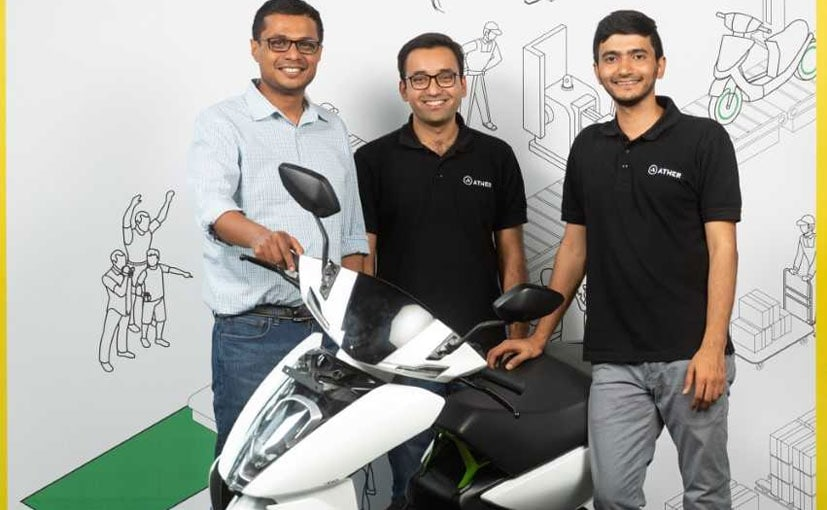 From L-R: Sachin Bansal with Ather Energy co-founders Tarun Mehta and Swapnil Jain