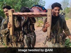 CRPF Soldiers Carry Injured Man On Cot To Hospital In Chhattisgarh