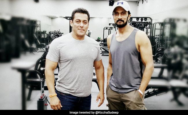 Image result for kiccha sudeep and salman khan on dabangg 3 sets