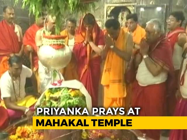 Video : Priyanka Gandhi Prays At Famous Ujjain Temple Before Last Phase Of Voting