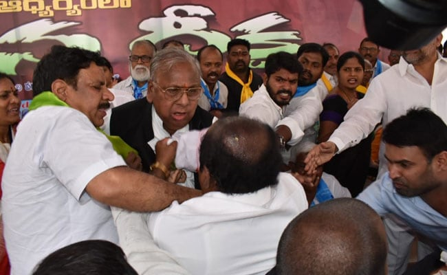 Watch: Congress Left Red-Faced As Party Leaders Trade Blows At Hyderabad Event