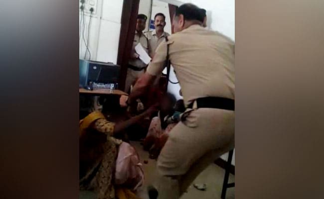 Gwalior Cop Caught On Camera Hitting Woman With Child Inside Station