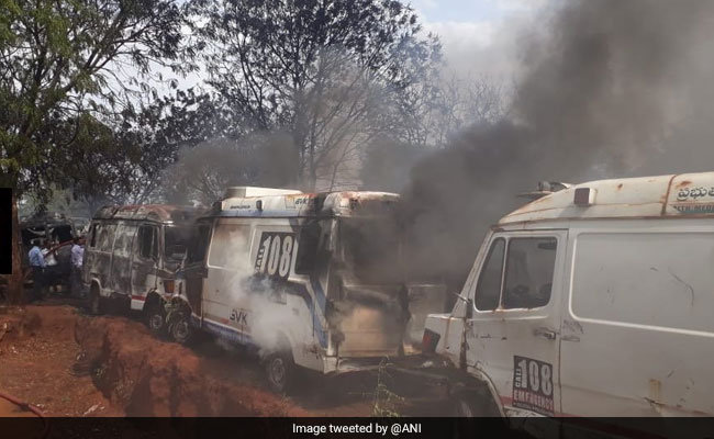 50 Government Ambulances Gutted In Fire In Hyderabad