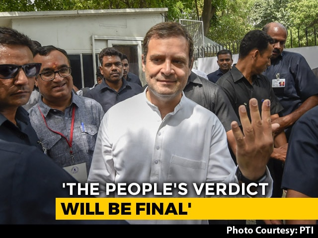 "Video : ""...But Love Will Win"": Rahul Gandhi Jabs PM Modi After Voting In Delhi"