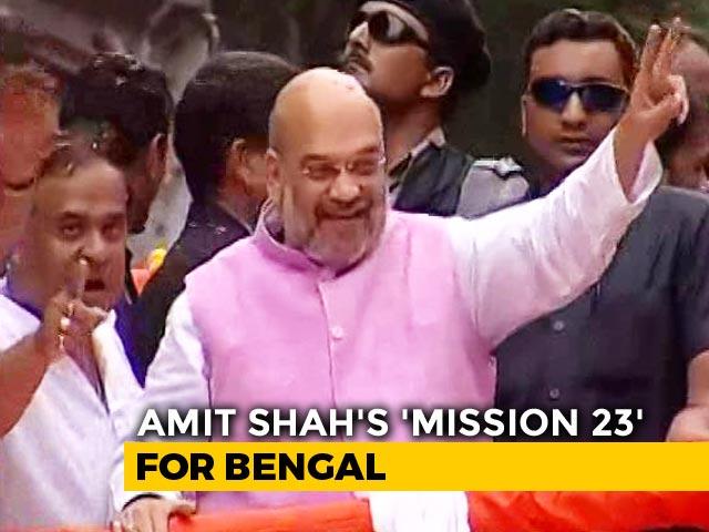 'Jai Shri Ram' Chants, Dancing Hanumans In Amit Shah's Kolkata Roadshow