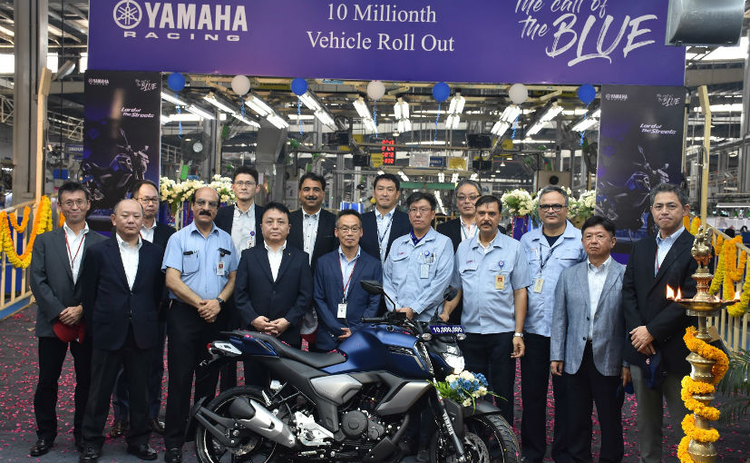 The 10 millionth model to be rolled out was the Yamaha FZS-FI V3.0 at the company's Chennai plant