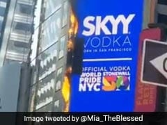Billboard In New York's Times Square Catches Fire