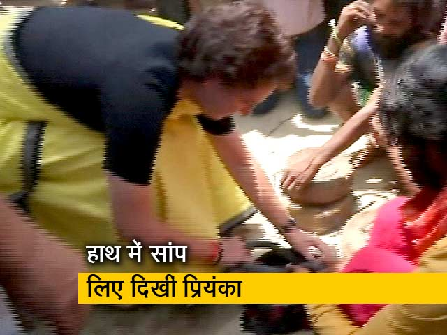 Videos : रायबरेली: संपेरों की बस्ती में हाथ में सांप लिए दिखीं प्रियंका गांधी