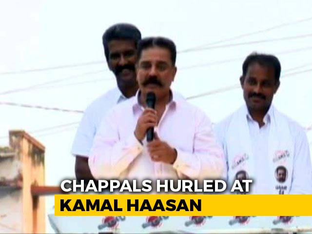 Video : Slippers Thrown At Kamal Haasan Amid Controversy Over Godse Remark
