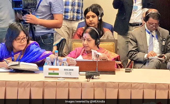 Sushma Swaraj, Pak Counterpart Exchange Pleasantries On SCO Meet Sidelines