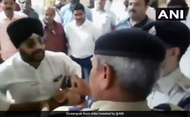 Madhya Pradesh Congress Leader Caught On Camera Misbehaving With Cops