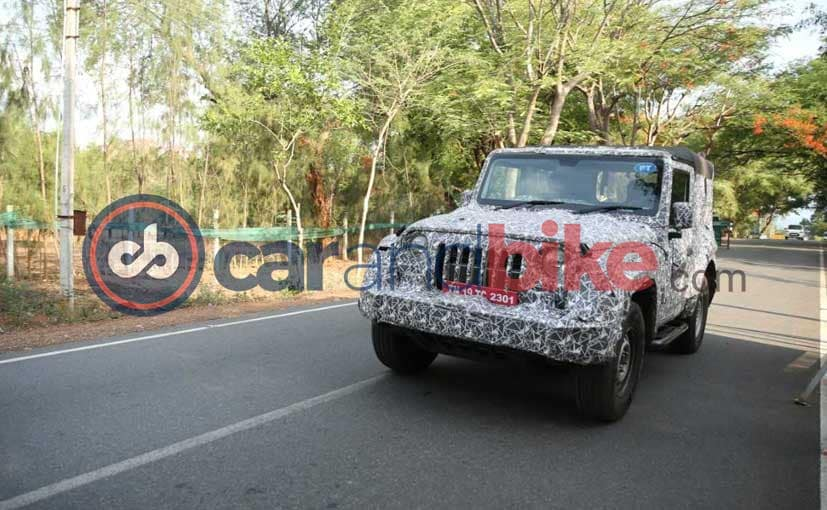 The next-gen Mahindra Thar looks more curvaceous upfront.