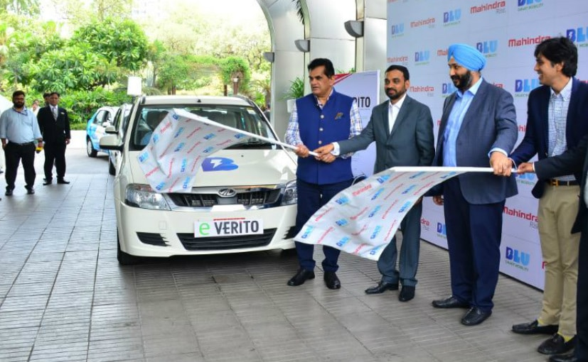 Amitabh Kant, CEO, Niti Aayog flagged off the first Mahindra eVerito electric cabs in New Delhi