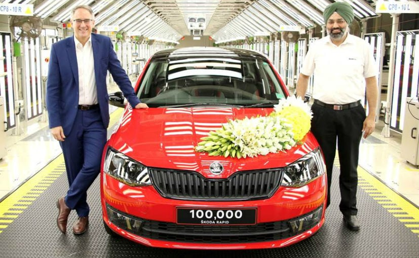 Zac Hollis, Director Sales, Service & Marketing & Gurpratap Boparai - MD, Skoda Auto India with the Rapid
