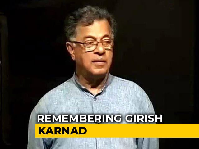 "Video : ""His Contribution Was Immense"": Theatre Lovers Remember Girish Karnad"