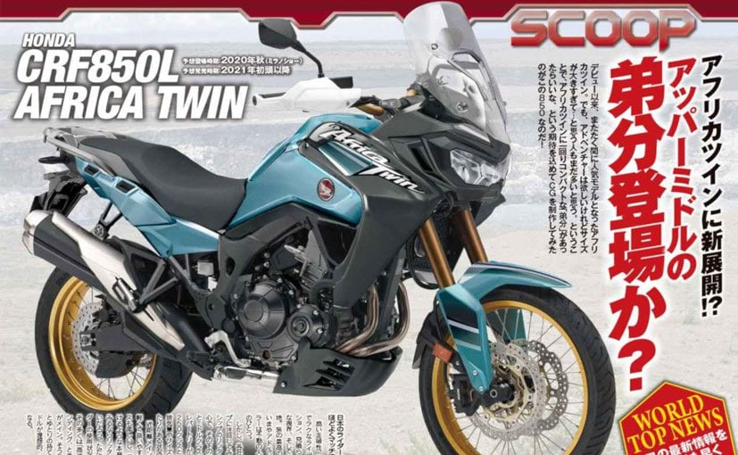 A rendered image shows a new Honda Africa Twin, purportedly with a new 850 cc engine