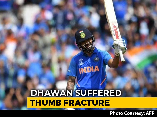 Video : Shikhar Dhawan Ruled Out Of World Cup For 3 Weeks With Thumb Injury