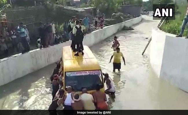 School Van Stuck In Water In UP; Driver Was In Hurry, Allege Children