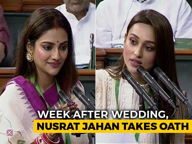 Video : Nusrat Jahan And Mimi Chakraborty, First-Time Parliamentarians, Take Oath