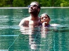 We're Missing Kajol In This Vacation Pool Pic Of Ajay And Yug