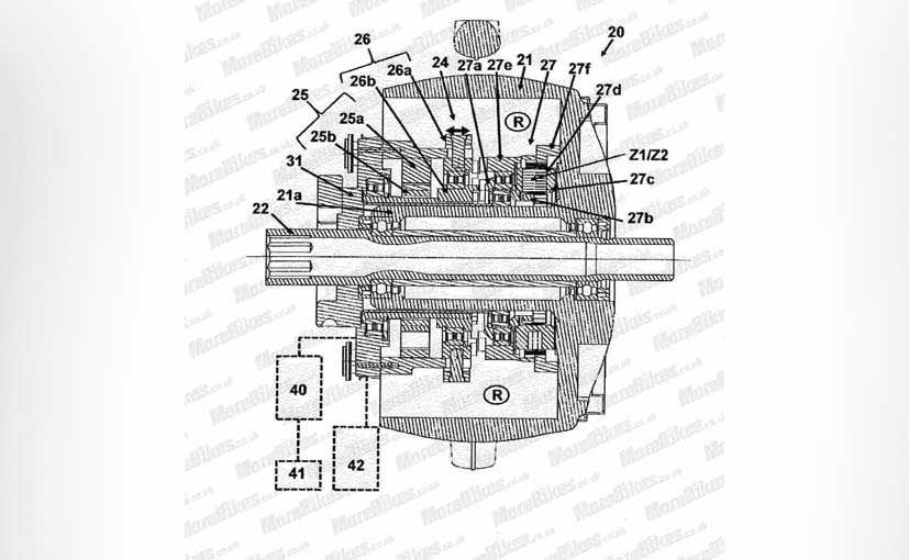 BMW Motorrad patent image of electric front-wheel drive system