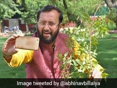 #SelfieWithSapling: पौधे के साथ सेल्फी लेते नजर आए केंद्रीय मंत्री प्रकाश जावड़ेकर, PM मोदी भी बोले- पौधे को पेड़ बनाओ